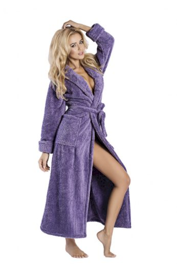Dlouhý huňatý župan Eliza fialový