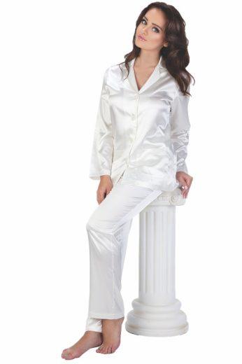 Dámské bílé saténové pyžamo Classic dlouhé