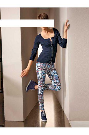 MANDARIN strečové kalhoty s geniálním ikátovým vzorem
