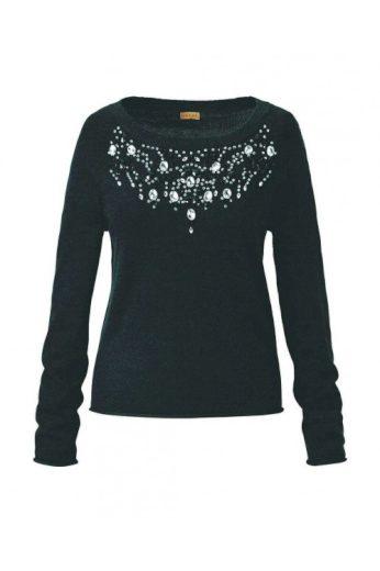 Luxusní svetry levně, značkový černý svetr ODEON (vel.L skladem)