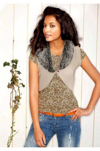 Pletená vesta AJC se tkanou kožešinou