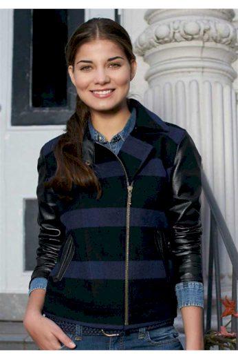 Dámská vlněná kostkovaná bunda s rukávy z imitace kůže