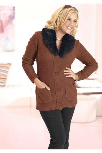 Svetry pro plnoštíhlé, dámský svetr s kožešinovým límečkem