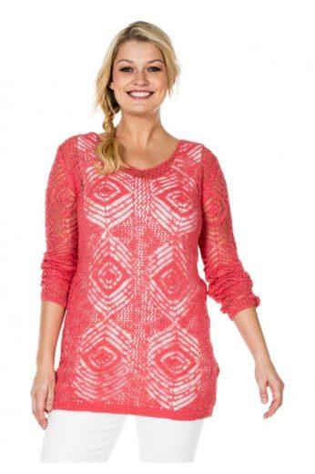 Letní svetr pro plnoštíhlé Sheego s ažurovým vzorem