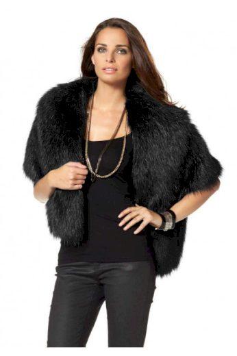 Černé pončo z umělé kožešiny, luxusní kápě Laura Scott