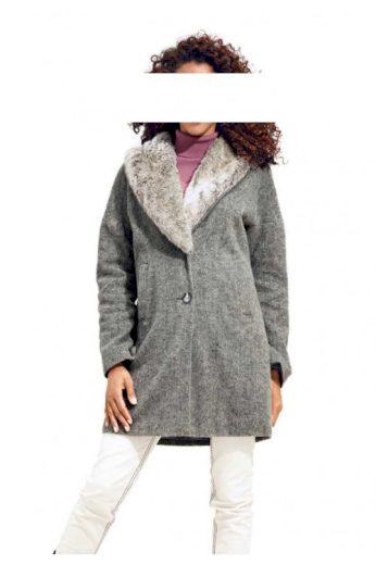 Vlněný flaušový kabát se tkanou kožešinou HEINE