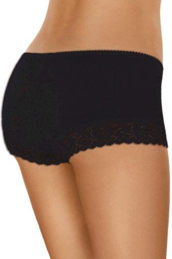 Bavlněné krajkové kalhotky s nohavičkou 55 černé