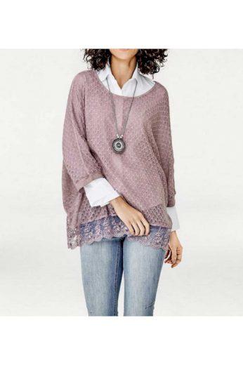 Slabý oversize svetr přes halenku, Linea Tesini