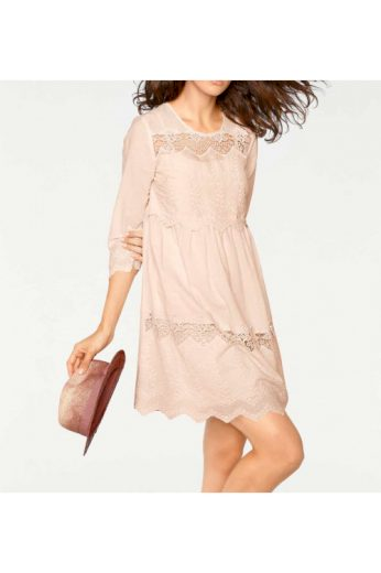 Pudrové krajkové šaty, Linea Tesini (vel.40 skladem)