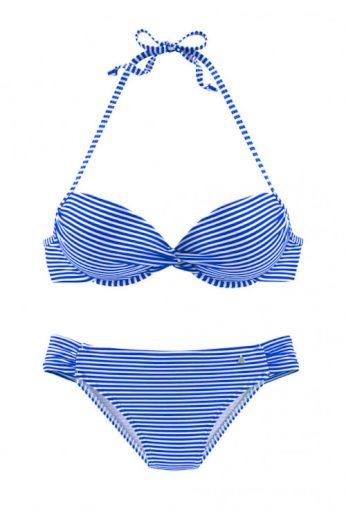 Dvoudílné push-up plavky s jemným proužkem košíček C, S. Oliver