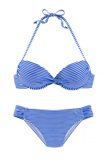 Dvoudílné push-up plavky s jemným proužkem košíček A, S. Oliver