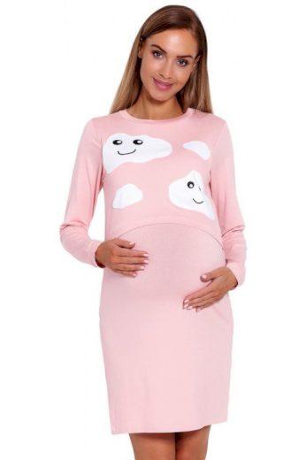 Mateřská noční košile Halle růžová s obláčky