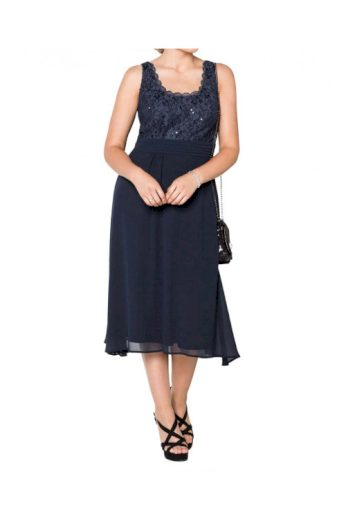 Šaty také pro plnoštíhlé, koktejlové šifonové šaty, Sheego (vel.50 skladem)