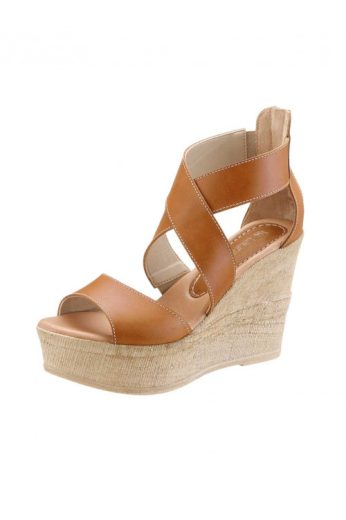 Kožené letní páskové sandálky wedge na klínu, klínové sandály, Laura Scott