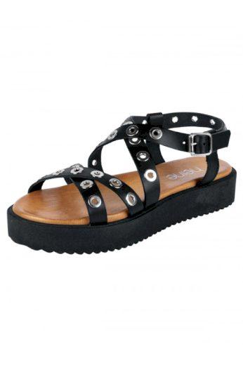 Kožené letní černé dámské sandálky na platformě, Heine (vel.41 skladem)