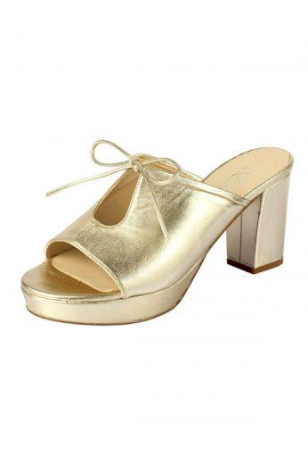 Kožené pantofle HEINE ve zlaté barvě (vel.41 skladem)