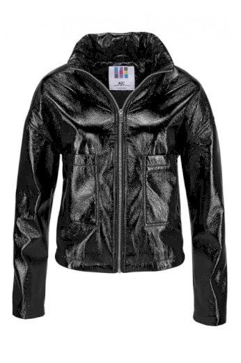 Bunda AJC, černá bunda z lakované imitace kůže (vel.40,46 skladem)