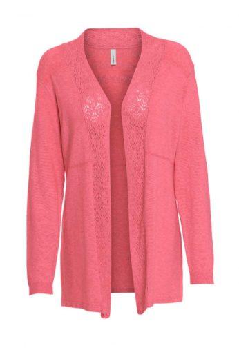 Pletený svetr Soyaconcept bez zapínání s ažurovou vsadkou