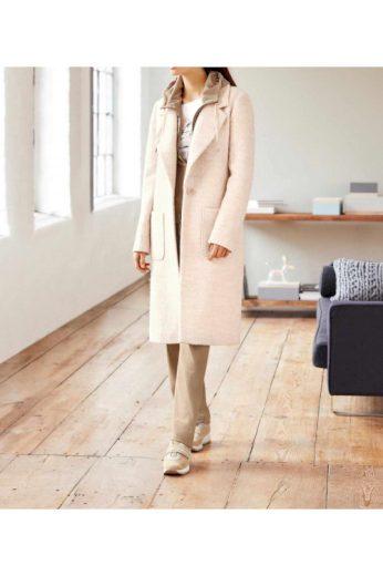 HEINE buklé světlý dámský kabát