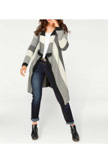 Dlouhý pletený svetr směs vlny také větší pohodlné velikosti
