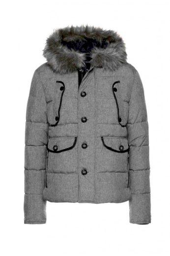 Šedá zimní prošívaná pánská bunda, Bruno Banani