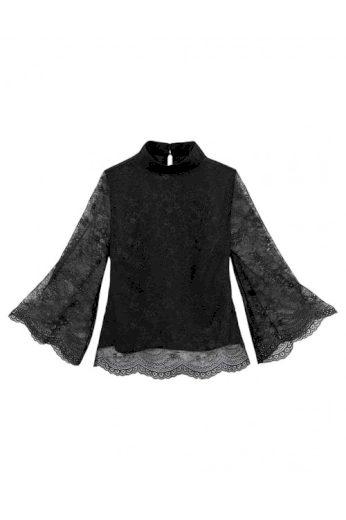 Černé krajkové triko, černá krajková halenka (vel.38,40 skladem)