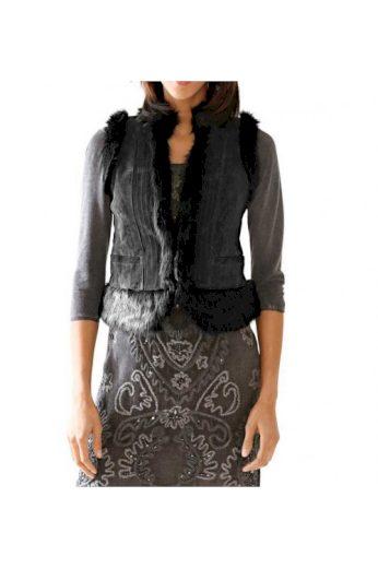 Šedá vesta z velurové kůže a tkané kožešiny, Linea Tesini