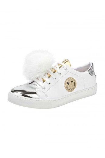 Kožené bílé sneaker se stříbrnou špičkou a bambulkou, HEINE (vel.41 skladem)
