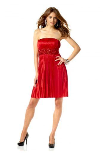 Červené koktejlové šaty s kamínky, Laura Scott Evening