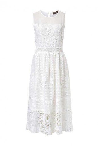 HALLHUBER DONNA, krajkové šaty v režné bílé