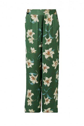 Dámské široké saténové kalhoty palazzo s liliemi, HALLHUBER