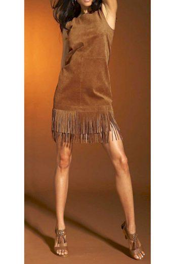 Kožené šaty s třásněmi, šaty z velurové kůže, APART (vel.36 skladem)