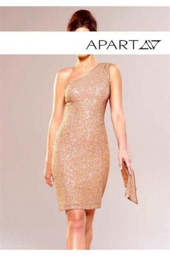 Asymetrické pajetkové šaty s šálem na jedno rameno, APART