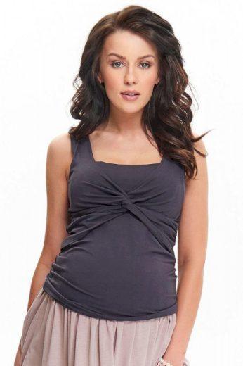 Těhotenský a kojicí top Zoja tmavě šedý