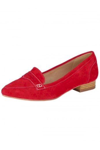 Kožené dámské mokasíny v ohnivé červené, Andrea Conti