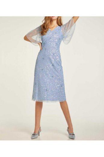 Světle modré koktejlové šaty s pajetkami, HEINE (vel.42 skladem)