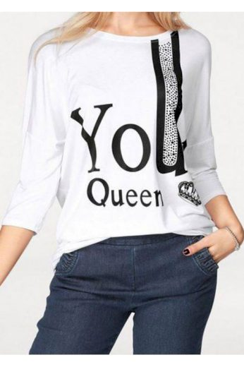 Oversize bílé triko s černým nápisem a kamínky, Vivance Collection