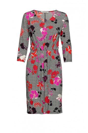 Betty Barclay žerzejové šaty s proužky a květy