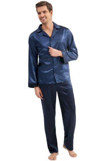 Pánské saténové pyžamo Charles modré