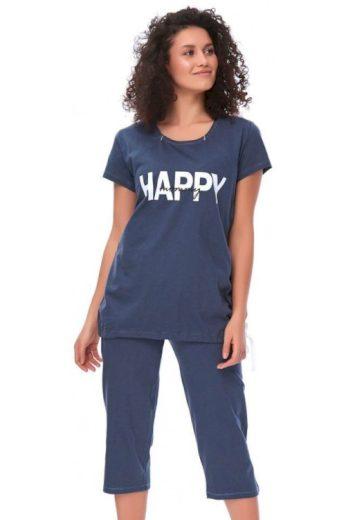 Mateřské pyžamo Happy mommy tmavě modré