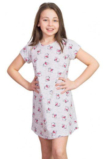 Dívčí noční košile Lucky Bear méďa šedá