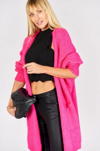 Měkký pletený oversize dlouhý růžový cardigan (1 ks skladem)