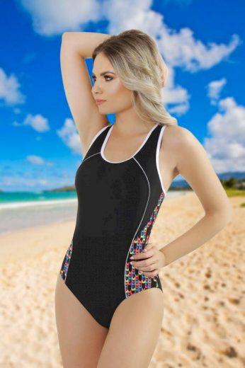 Jednodílné plavky Mina černé barevný vzor