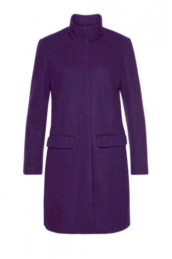 Dámský kvalitní vlněný fialový kabát, S.Oliver