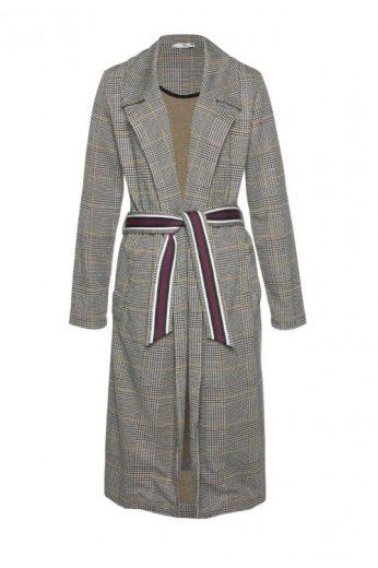 AJC dlouhý žerzejový kabát s drobnou kostičkou glencheck