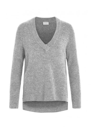 Šedý vlněný svetr do véčka, VILA Clothes
