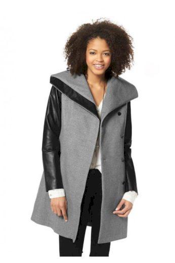Kabát AJC s PU rukávy, podzimní kabáty (vel.36,40 skladem)