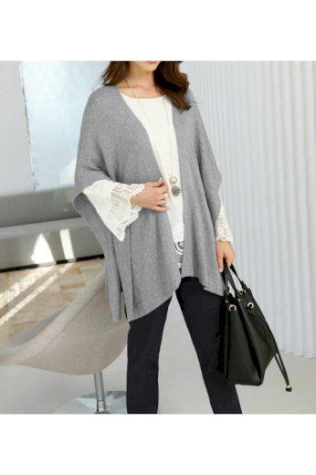 Luxusní pletené pončo s kašmírem a hedvábím, Fair Lady (1 ks skladem)