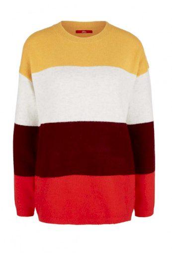 Značkový pletený svetr S. Oliver s pruhy