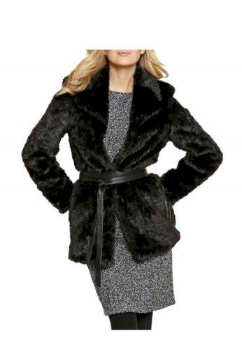 Kabát ze tkané kožešiny, kožešinový kabát, černý kožíšek APART (vel.40 skladem)